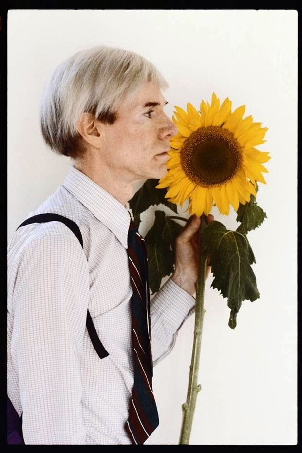 12 Rare and Interesting Portraits of Andy Warhol with a Giant Sunflower, 1981