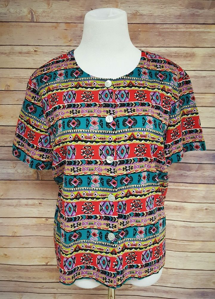 Orvis Bright Funky Aztec Tribal Shirt Womens Size Medium Boho Button Down #Orvis #ButtonDownShirt