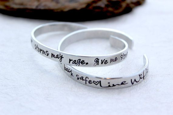 The Lineman Wife, Girlfriend, Mom Prayer is Hand Stamped onto this 2 Cuff Bracelet Set. It will read  ❤ When duty calls, wherever storms may rage, give me Strength... to let him go, and may he always come back safe❤  ™ Instead of Line Wife at the end you can add a name, date, ticket number or any other short 2-3 words! Please leave this in the notes if you want to change this.  These Bracelets are each 1/4 so 1/2 total, they are made from light weight 100% Anti-Tarnish Hypoallergeni...