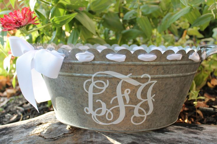 Personalized Scalloped Oval Metal Tub/Ice Bucket - Party Beverage Tub - Assorted Colors Available. $31.00, via Etsy. Perfect...would lose the ribbon though