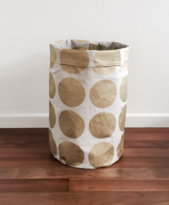 Gold metallic spot laundry hamper or toy by LittleHomeHandmade