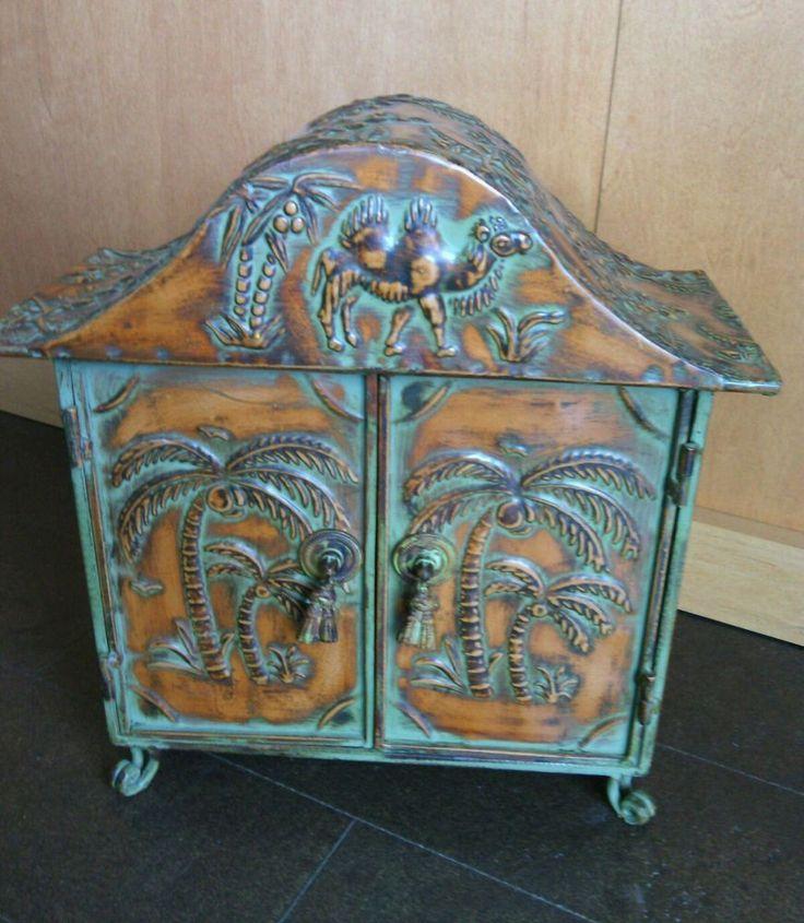 North African Style Metal Cabinet 2 Doors Palm Trees Camel Design Decorative Sun   eBay