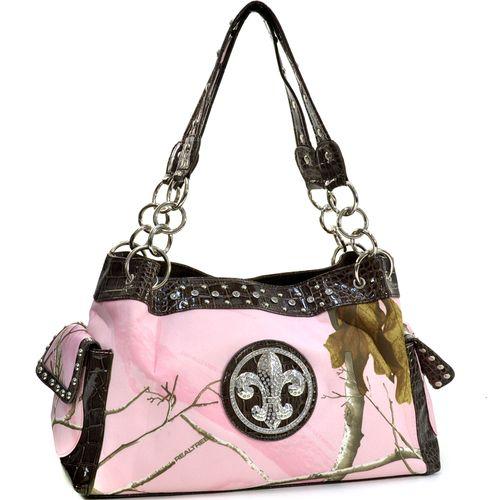 Dasein(R) Fleur de Lis Accent Shoulder Bag in Real Tree(R) Camouflage- Pink/Croco Coffee Trim Q311-EM-RT1-52830A APP/CF