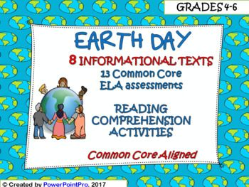 Earth Day Reading Comprehension Activities and Printables8 informational texts with comprehension activities all about Earth Day! Common core aligned! It will help you to teach students about the history of Earth Day, recycling, reducing, and reusing, and ways they can help to protect the environment.