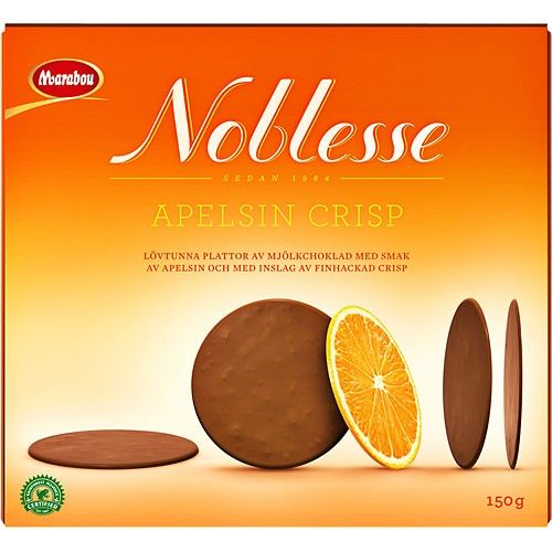 Paper-thin plates of biscotti flavored milk chocolate and a hint of finely chopped crisp.