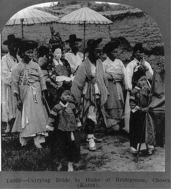 Carrying bride to home of bridegroom, Chosen (Korea)