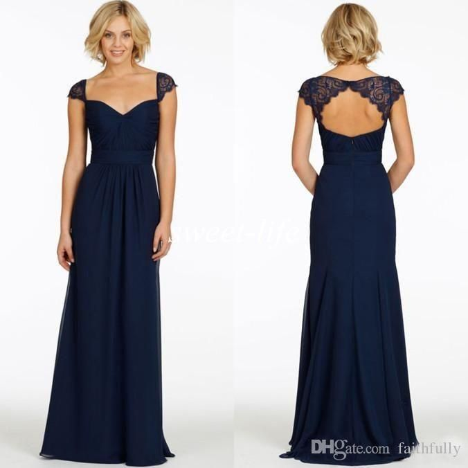 Custom Made 2016 Dark Navy Bridesmaid Dresses Cheap Chiffon Sweetheart Cap Sleeve Backless A Line Vintage Evening Dress Long Party Prom Gown Halter Neck Bridesmaid Dresses Latest Bridesmaid Dresses From Faithfully, $82.84  Dhgate.Com
