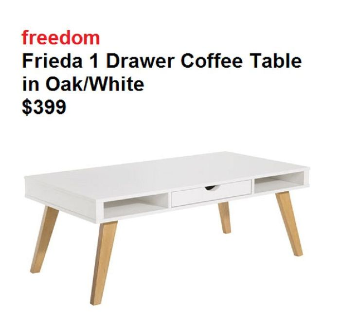 freedom Frieda 1 Drawer Coffee Table in Oak/White $399