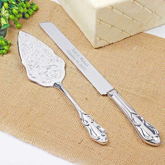 Romance Style Engraved Wedding Cake Knife Set Wedding