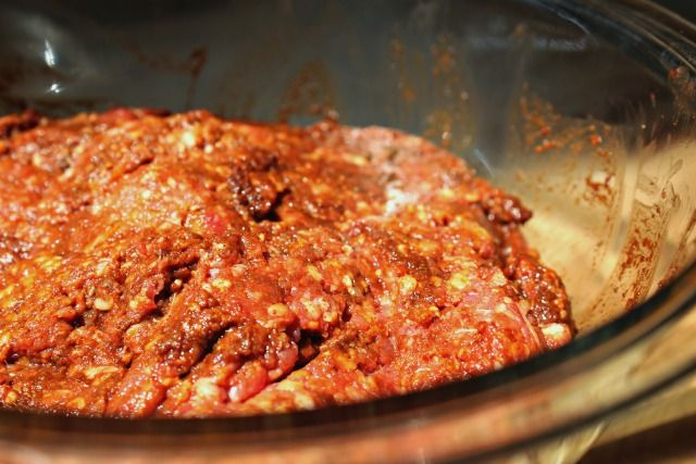 DIY Chorizo.... YUM!  2 1/2 pounds ground pastured pork or ground grass fed beef (where to buy grassfed meats) 1 garlic clove, minced 3 tsp oregano 1/2 cup apple cider vinegar (where to buy organic raw apple cider vinegar) 1/2 cup organic red chile powder (where to buy red chile powder)