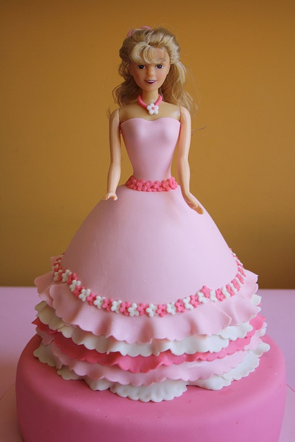 Doll cake... doesn't have to be made with a barbie. I love the fondant idea instead of using all frosting. makes it look more finished.
