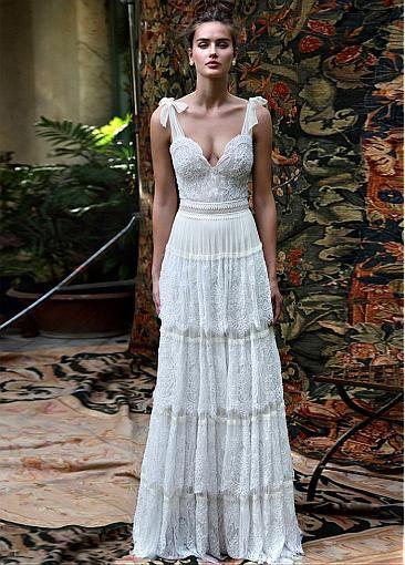 Romantic lace bridal dress - rustic wedding - boho wedding