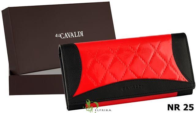 Portfel damski skórzany w kolorze czerwono-czarnym marki Cavaldi / Więcej na www.elfrika.pl