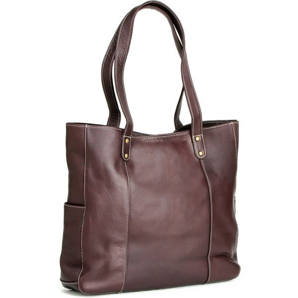 Spacious and rugged, this LeDonne tote bag showcases a genuine Colombian leather construction with contrast accent stitching and antique hardware. With two long flat straps, two exterior slip pockets,