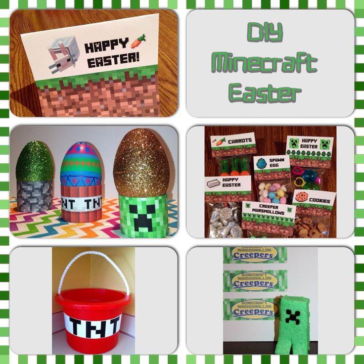 Printable Minecraft Easter Basket Favor Labels and Easter
