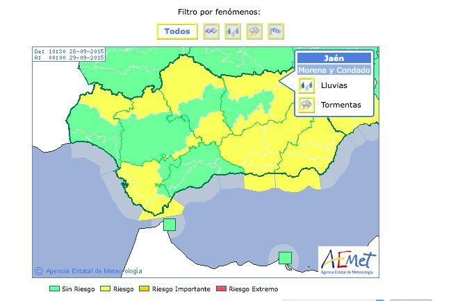 La provincia, hoy lunes, en alerta amarilla por lluvias y tormentas