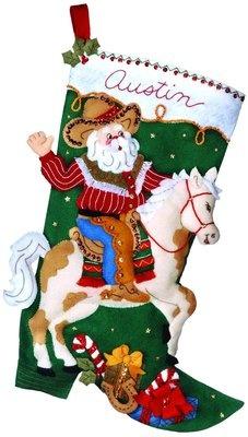 Cowboy Santa Christmas Stocking Felt Applique Kit