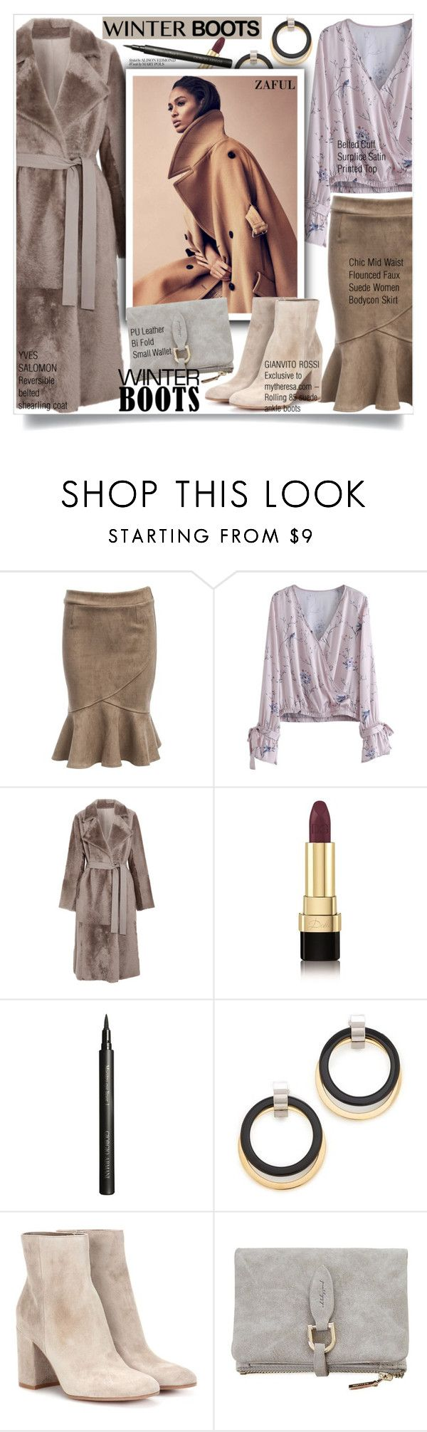 """""""So Cozy: Winter Boots"""" by sweetsely ❤ liked on Polyvore featuring Yves Salomon, Dolce&Gabbana, Giorgio Armani, Marni, Gianvito Rossi, polyvoreeditorial, winterboots, suedebooties and shearlingcoats"""
