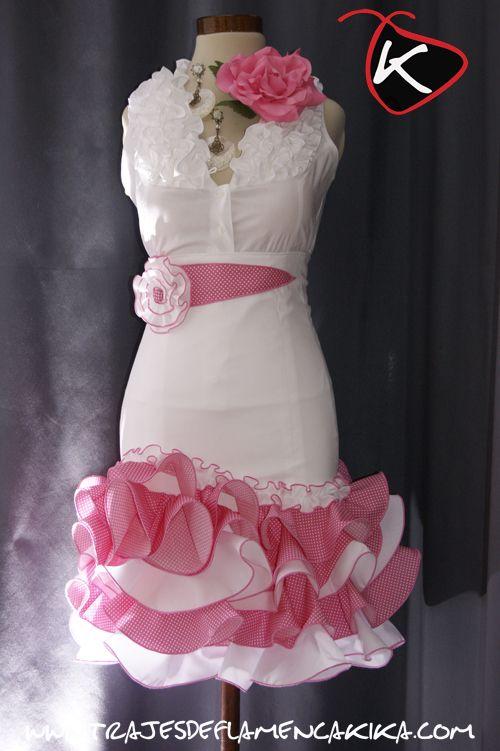 TRAJES DE FLAMENCA KIKA: Falda alta corta Blanca y rosa oscuro con lunar de alfiler blanco Mod DSC2405