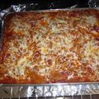 Baked Mostaccioli - omit mushrooms, add a packet of italian salad dressing mix, and some extra cheese on top and maybe stir in ricotta too.