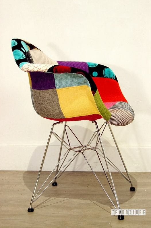 Nz Study Room: DAR Replica Eames Dining Arm Chair Rod In Patch Fabric