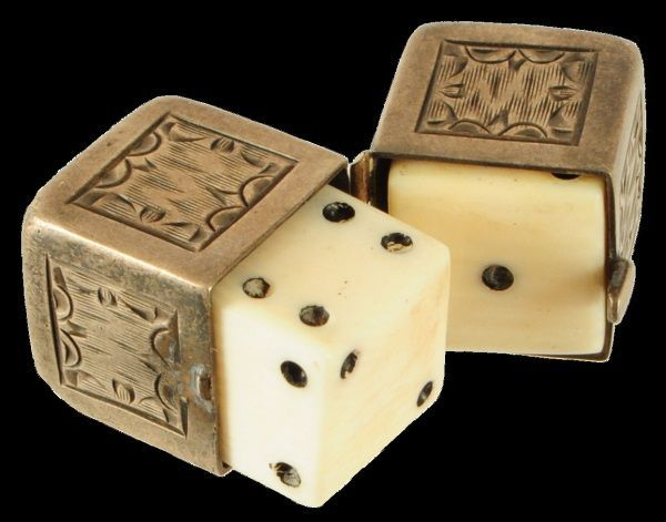 Bone dice in silver case