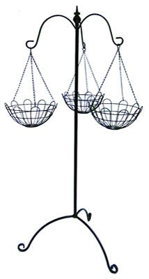 Triple Hanging Basket Stand-Ideal for displaying those hanging baskets anywhere. This simple heavy duty wrought iron self-assembly product comes as a 3 piece assembly and is black paint coated.