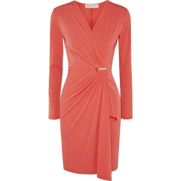 MICHAEL Michael Kors Wrap-effect stretch-jersey dress ($81) ❤ liked on Polyvore featuring dresses, coral, wrap dress, shirred dress, loose fitting dresses, wraparound dress and loose fit dress