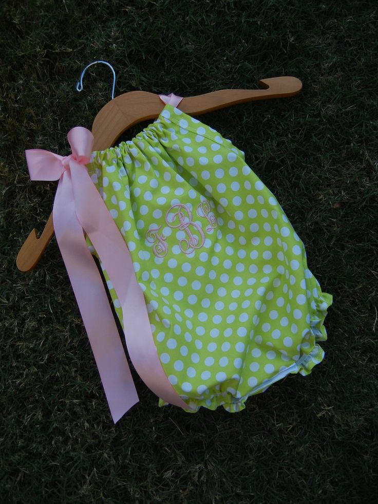 Monogrammed Lime Dot Pillowcase Bubble Romper - sizes 3m - 24m....PERFECT for SPRING and SUMMER. $32.00, via Etsy.
