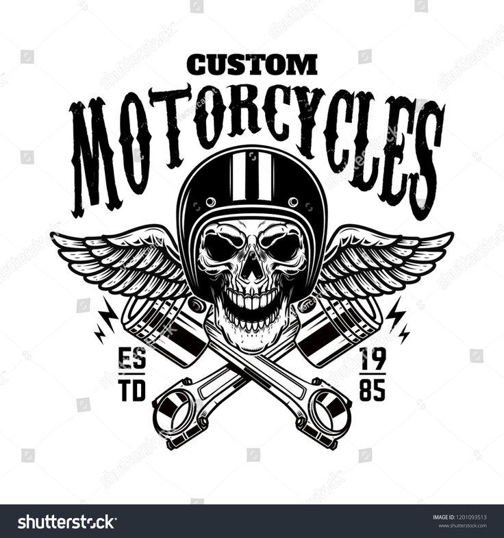 Kundenspezifische Motorräder. Weinleserennläuferschädel im geflügelten Sturzhelm und in den Kolben. Design ele …   – Backyard