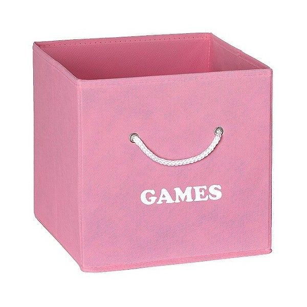 RiverRidge Folding Storage Bin with Games Print ($15) ❤ liked on Polyvore featuring home, home decor, small item storage, pink, pink home decor, pink storage bins and storage bins