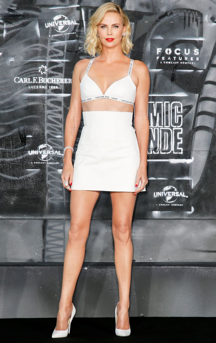 Charlize Theron Wows in Just a Bra at the Atomic Blonde Premiere in Berlin from InStyle.com