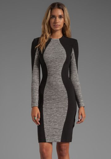 BY MALENE BIRGER Double Jersey Stretch Molky Dress in Medium Grey Melange - Dresses