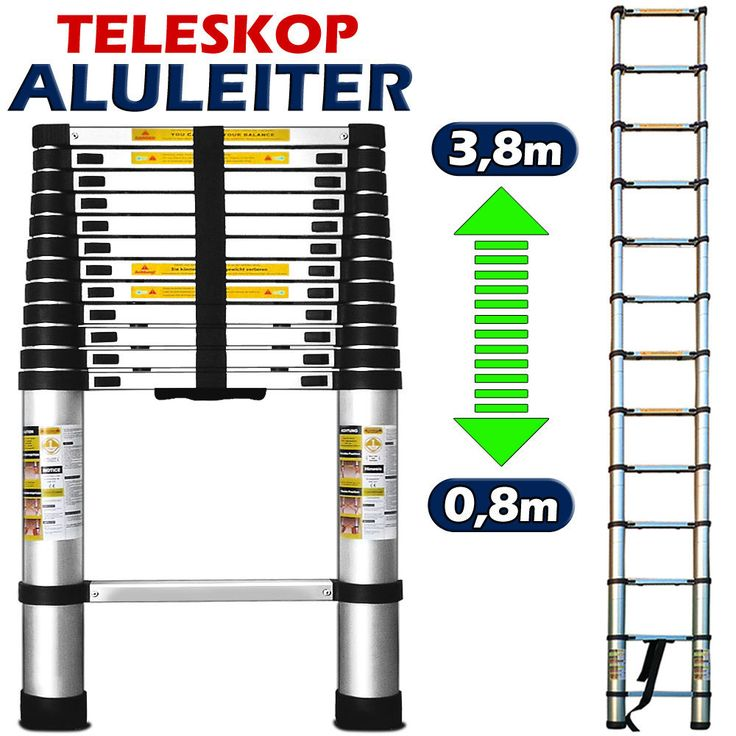 ALU Leiter 308952 Teleskopleiter 3,8m Aluleiter Stehleiter W5 in Heimwerker, Werkzeug, Leitern | eBay