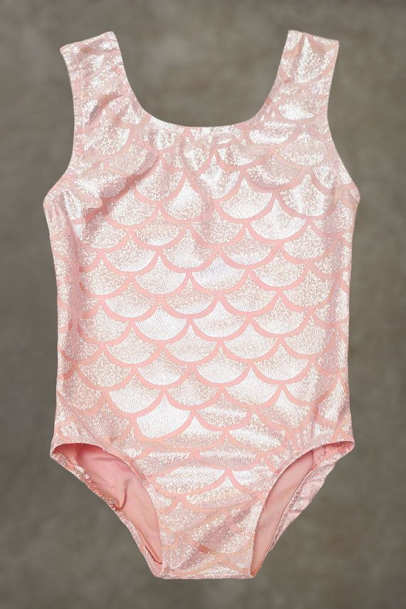 Gymnastics Leotards | Dance Leotards - Pink Coral Mermaid leotard for toddlers, girl's sizes 18 Months, 2T, 3T, 4, 5, 6, 7, 8, 10, 12