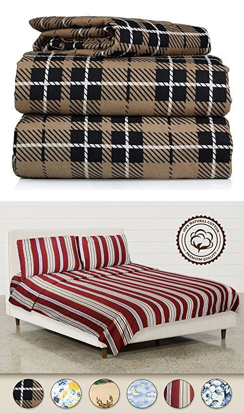 Piece 100% Soft Flannel Cotton Bed Sheet Set – Queen/King Size – Patterned Bedding Covers – 1 Flat Sheet, 1 Fitted Sheet, 2 Pillow Cases - Fade Resistant Designs, (Brown Plaid, king)
