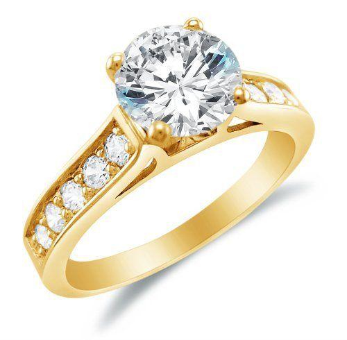 925 Sterling Silver Yellow Cubic Zirconia Round Solitaire Women's Ring RD9kcojlY