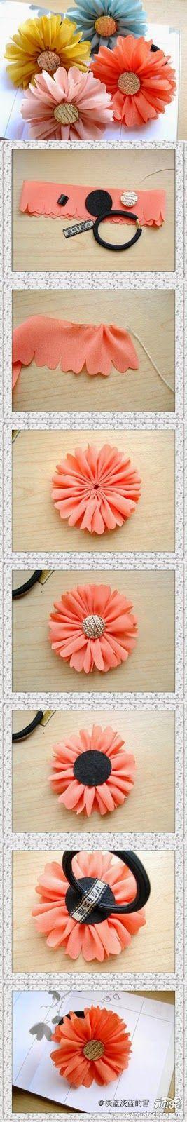 Minha Casinha Rosa: Faça enfeite para cabelo com flores de tecido.