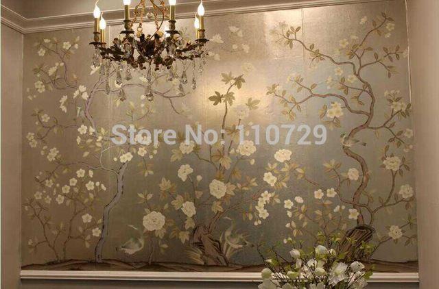 Dipinto a mano foglia argento carta da parati carta da parati rivestimento murale pittura di fiori con uccelli DIPINTI A MANO unico molte immagini opzionale