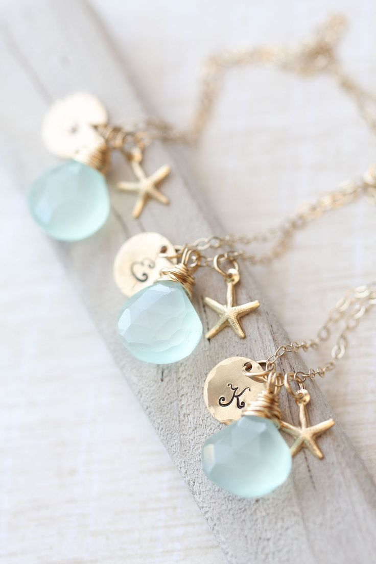 Bridesmaid Necklace Set, Bridesmaid GIFT SET of THREE Personalized Starfish Necklaces, Blue Bridesmaid Necklace, Gold, Summer Wedding. $114.00, via Etsy.