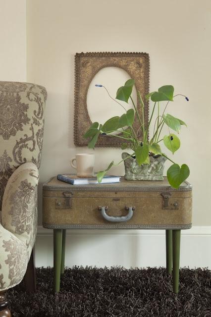 Repurposed vintage suitcase.