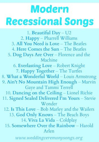 Modern Wedding Recessional Songs. #weddingmusic