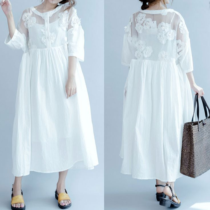 New women white printing loose transparent cotton&polyester party dresses