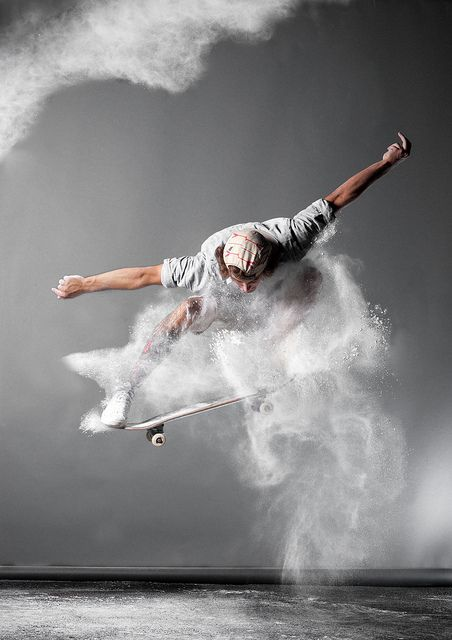 Photography style idea - maybe we get someone doing a dope freeze or jump in the air w colored powder.