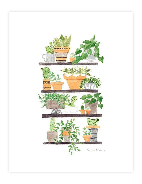 Watercolor plants & succulents art print Botanical by verysarie