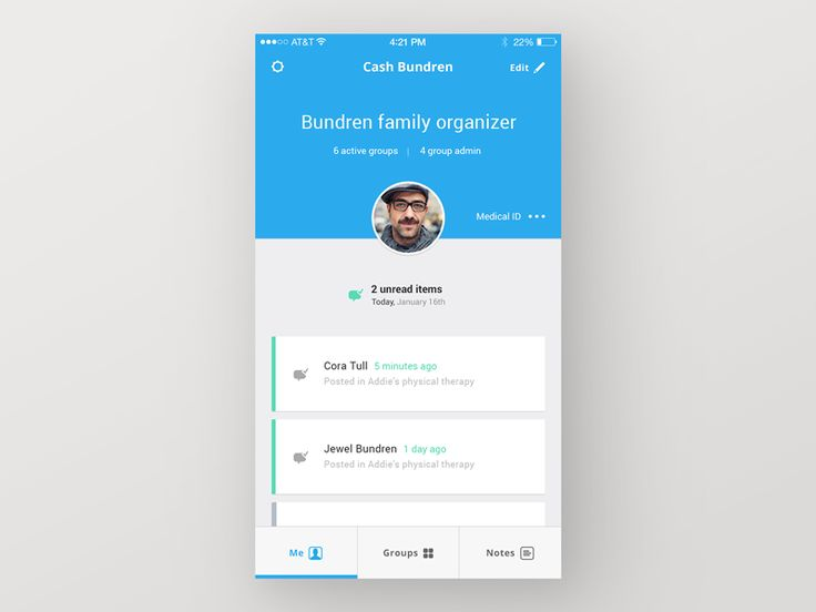 Spectra Care App — Me Tab by Ben Mingo for Rally Interactive