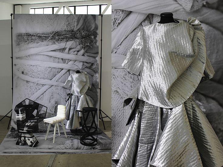 LEFT: wrapped wonders by Anton Alvarez, Ditte Hammerstrøm, Min Nan Hui & Nendo for Cappellini RIGHT: garments by Min Nan Hui - photos: Daniel Costa