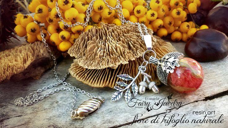 Collana ghianda con fiore trifoglio incluso nella resina argento gioielli botanici , by Evangela Fairy Jewelry, 15,00 € su misshobby.com