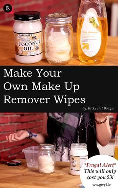 Super cheap and easy to do make up remover! Project costs less than $3. Find out how to make them here==>  http://gwyl.io/make-make-remover-wipes/