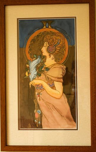 Hand painted 100% silk Ponge 36 x 57 cm, ''Lady by Mucha''
